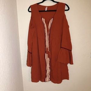 Xhilaration Bohemian Cold Shoulder Flow Dress